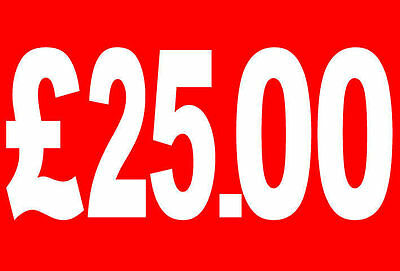 £25|25 Pound Sale Rail Double Sided Sign Card Retail Shop Display - High Quality