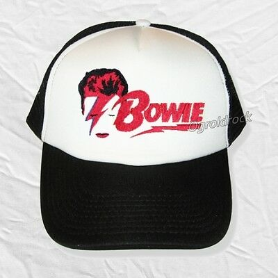 David Bowie Aladdine Sane Logo Embroidered Hat Rock Duke Ziggy Trucker Cap Model