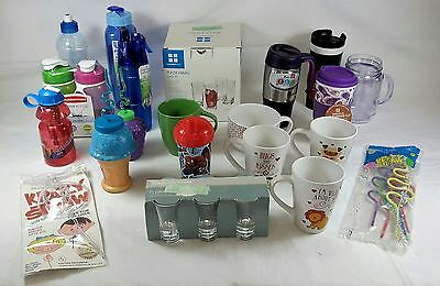 Wholesale Lot of 41 Mixed Beverage Glasses Cups Mugs Bottles Kitchen Items New