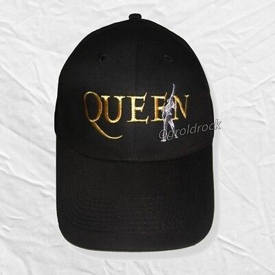 Queen Logo Embroidered Hat Rock Band Freddie Mercury Brian May Gabardine Cap
