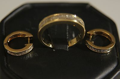 CHARMING 18K SOLID YELLOW  GOLD RING & EARRINGS DIAMOND SET size 6