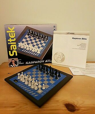Kasparov Atlas Electronic Chess Set Saitek Tested Complete manuals (b4)