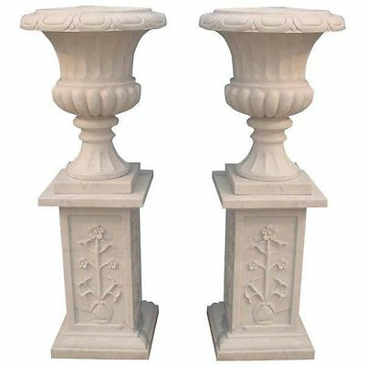 Marble Urns Vases on Base White Hand Cut 4 ft tall  New Free shipping