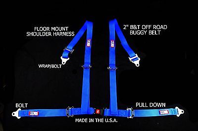 """Rjs Racing 2"""" Buggy Off Road Seat Belt 4 Point B&t Floor Harness Blue Sand Rail"""