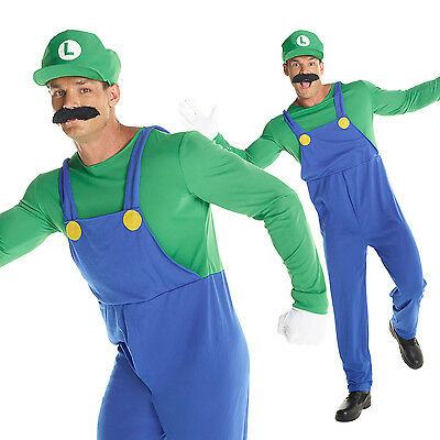 Mens Super Mario Bros LUIGI Fancy Dress Costume Adult Plumber Outfit Green