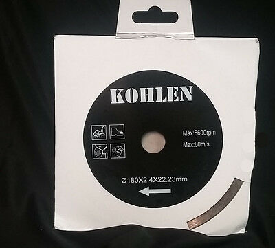 "KOHLEN 7"" Wet and Dry Cut Continuous Rim Diamond Saw Blade Tile Stone Masonry"