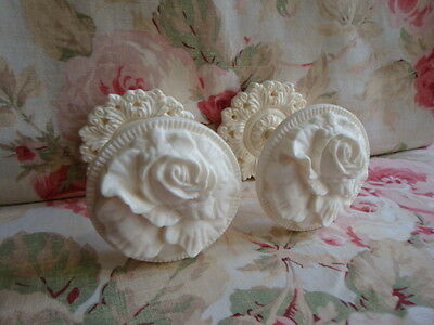Shabby & Chic Cabbage Rose Curtain Drapery Tiebacks PAIR (Style #2)