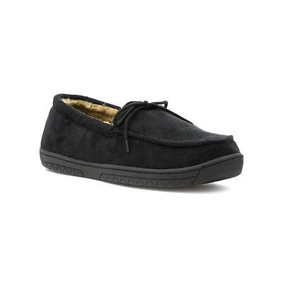 The Slipper Company - Mens Black Faux Suede Moccasin Slipper