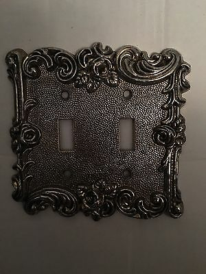 Vintage American Track Double Light Switch Cover Flowers Brass