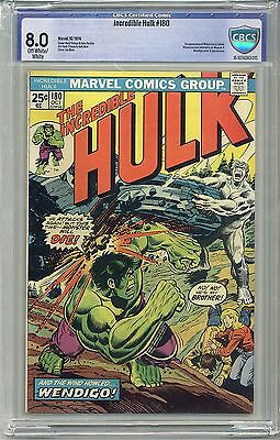 INCREDIBLE HULK #180 CBCS 8.0 OW/WHITE Pages (Not CGC) 1st WOLVERINE Free Ship