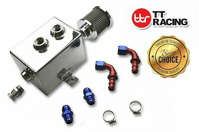 Aluminum Oil Tank Kit Catch Can Baffled Filter 10an w/fittings 2L Polished