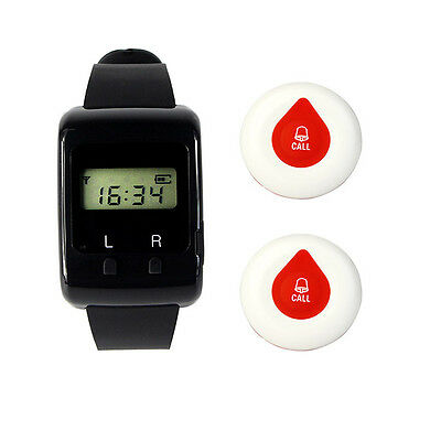 Wireless Guest Paging System Watch Receiver Transmitter Call Button Pager+track