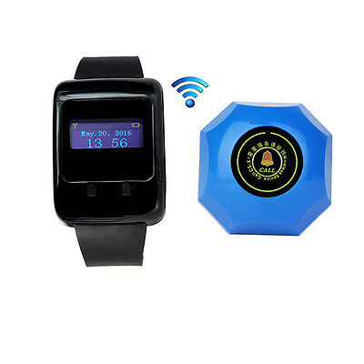 Wireless Hotel Calling Paging System LED Wrist Watch Receiver Call Button Pager
