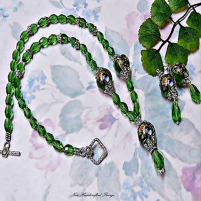 Necklace and earrings set, Emerald Green Rose Tensha Bead and crystal