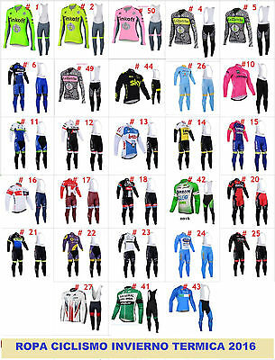 Ropa de ciclismo Invierno termica 2016 manga larga maillot cycling winter fleece