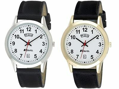 Ravel Gents Arabic Dial Day Date Faux Leather Strap Watch R0706