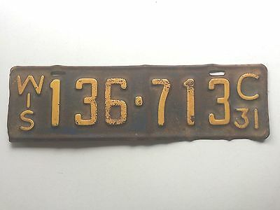 Wisconsin 1931 Vintage License Plate Garage Old Model A Car Tag Auto Man Cave