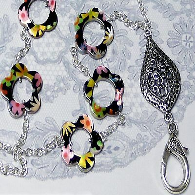 Lanyard chain necklace, Black Mother of Pearl floral print, work ID badge holder