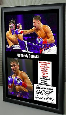 "Gennady Golovkin World Champion Framed Canvas Print Signed ""Great Gift"""