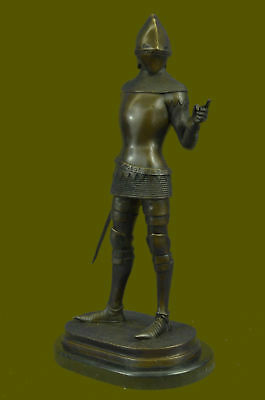 Medieval Middle Ages Knight Warrior Bronze Sculpture Handmade Marble Base Art T