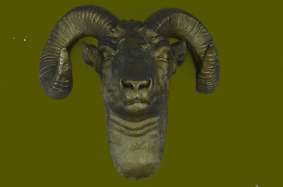 Rams Head Bust Bronze Sculpture For Wall Hand Made Statue Original Decor Art T