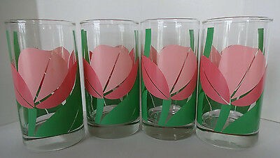Vintage Federal Glass Co. Hand Painted Tumblers Tulips (4)