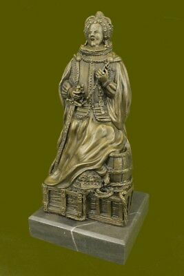 Rare 17 Century Queen sitting on Gold Chest Bronze Sculpture Museum Quality