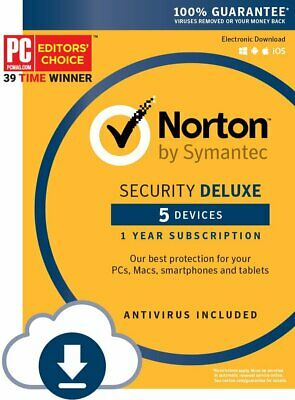 Fast Same Day Sent via ebay message Norton Security Deluxe 5 Devices 1 Year 2019