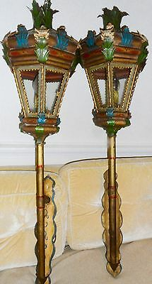 Pr Antique Painted Tole Sconces, very Large size