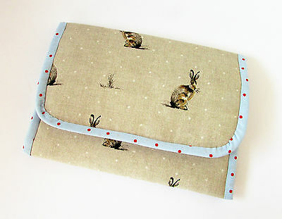 Handmade baby travel changing mat for bag - Bunny Rabbit Beige Blue & Oilcloth