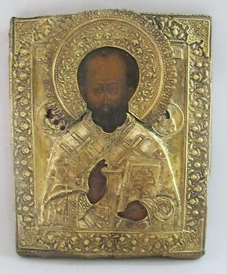 Large 19th C. RUSSIAN GILT ORTHODOX Icon w/ Gold Gilt of St. Nicholas  c. 1840