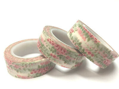 Washi Tape Pink Chintz Floral 15Mm X 10Mtr Scrap Craft Planner Wrap Mail Art