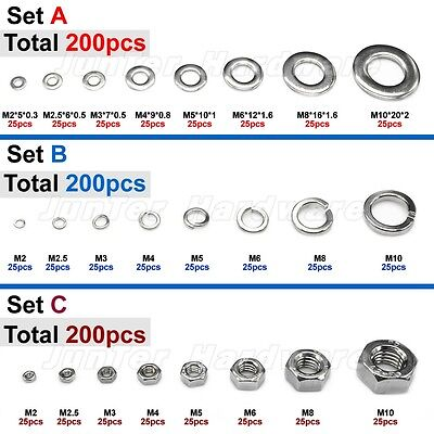 200pcs M2-M10 Each 25pcs A2 Stainless Steel Flat Washer Spring Washer Hex Nuts