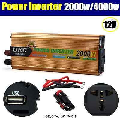 2000W / 4000W (Peak) Watt 12V DC-AC Power Inverter Car Caravan Boat USB Charge