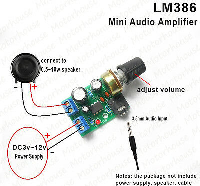 LM386 Mini Audio Power Amplifier AMP Board Module DC 3V~12V 5V Adjustable Volume