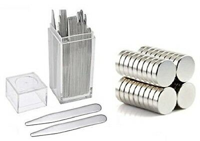 "20 Metal Collar Stays 2.2"" + 10 Magnets For Men Shirts In Clear Plastic Box"