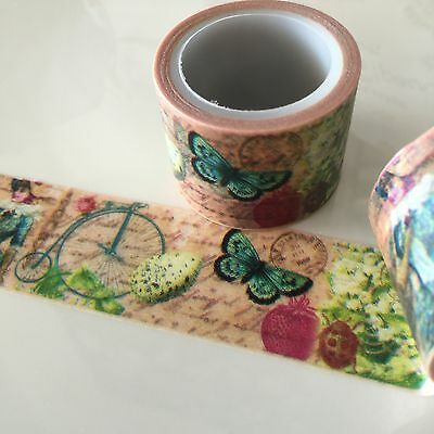 Washi Tape Wide Vintage Ephemera  30Mm Wide X 5Mtr Roll Scrap Planner Craft Wrap