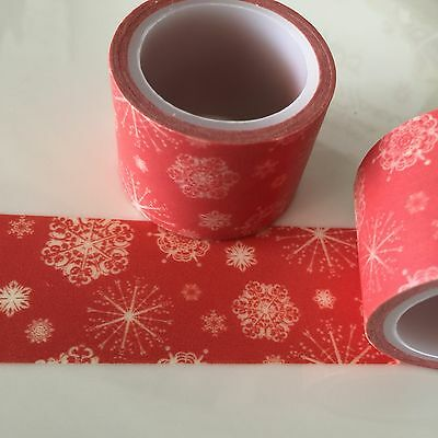 Washi Tape Wide Snowflakes On Red Christmas 30Mm Wide X 5Mtr Roll Scrap Craft