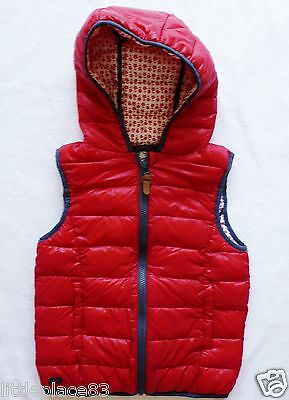 BNWT NEXT new red padded hooded gilet body warmer cotton lined shower resistant
