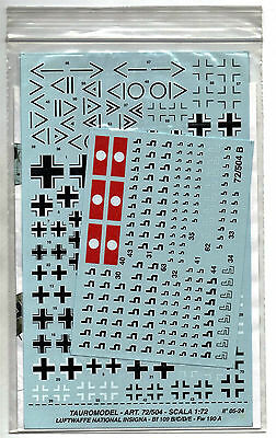 Tauro Model 72-504 - Decals 1/72 Luftwaffe National Insignia - Nuovo