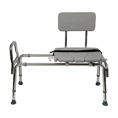 Duro-Med Heavy-Duty Sliding Transfer Bench Shower Chair with Cut-out Seat and