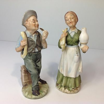 Pair of Vintage Hand Painted Porcelain Figurines