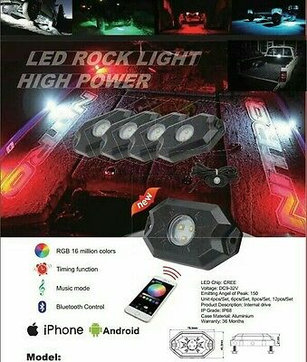 Set of 8 LED RGB Multi colour Flashing Strobe Rock Lights Offroad SUV 4WD JEEP