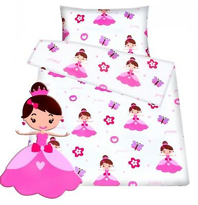 Baby toddler cot/ cot bed set duvet cover+pillowcase pink princess cotton girls