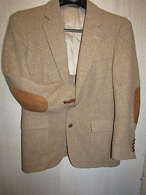 Vtg Mens Wool Tweed Blazer Jacket SUEDE Elbow Patches Leather Buttons 42 R