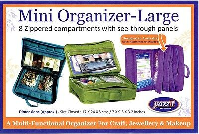 Yazzii Craft Organizer Tote-8 Zippered Pockets for Craft, Jewelry, Makeup-Navy