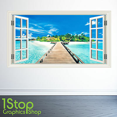 BEDROOM LOUNGE TROPICAL W138 PARADISE BEACH WALL STICKER WINDOW FULL COLOUR