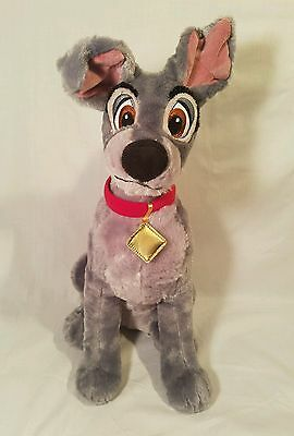 """Disney Store Tramp -  Lady And The Tramp Dog Plush Gray 15"""""""