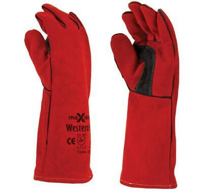Maxisafe Western Red Welders Gauntlet Safety Protection Gloves Pizza Oven