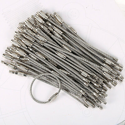 "100PCS 4"" 10cm Stainless Steel Wire Cable Keychain Key Chains Rings Bulk US"